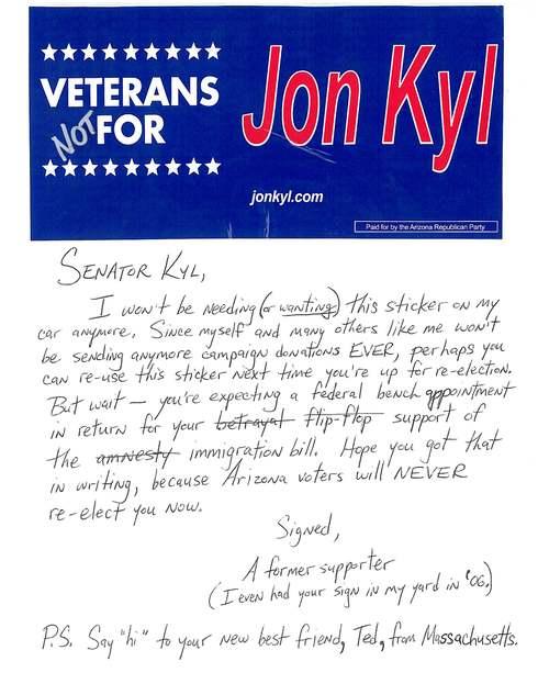 My letter to Arizona's AMNESTY Senator, Jon Kyl