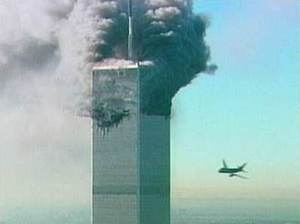 Second plane about to hit the World Trade Center on September 11th, 2001.